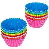 Anpro 32 Muffinformen set Backform Cupcake Muffinförmchen in 8 Farben aus hochwertigem, Silikon Cupcakeförmchen, Backförmchen, Cupcake Muffinform, EINWEG